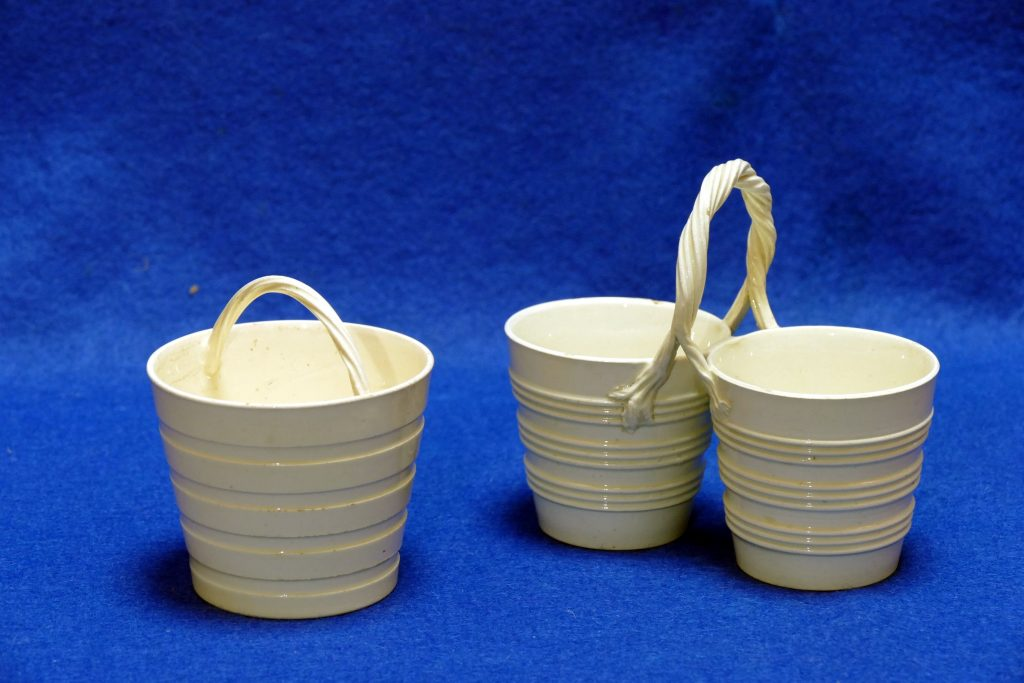 Pair of miniature creamware pails